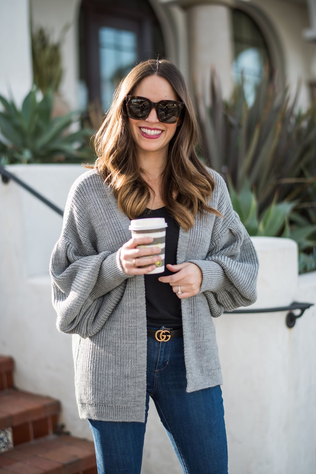 2fbc5f0e7 Grey Cardigan and Gucci Marmont Belt - Kara Loves Coco